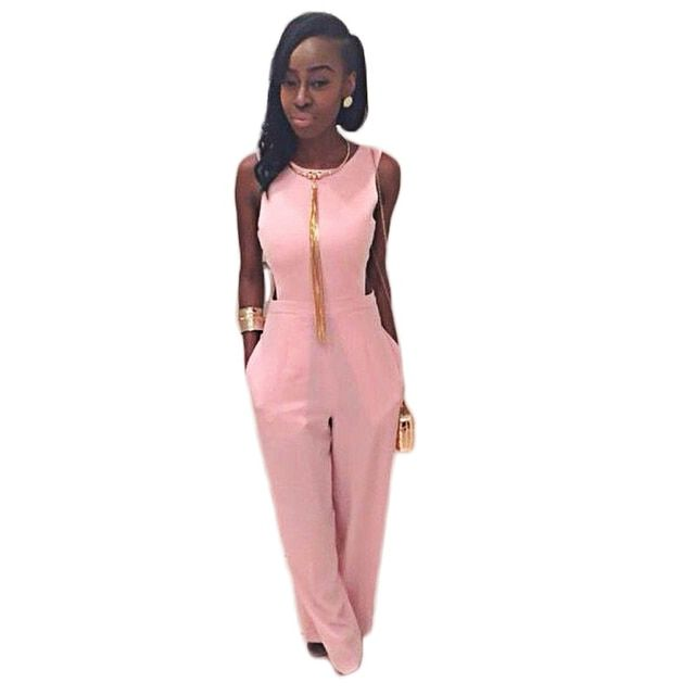 Pink Jumpsuit Summer Women's Overall Sexy Fashion Bodycon Sleeveless Waist High Quality Jumpsuits Pants Coveralls Women Rompers