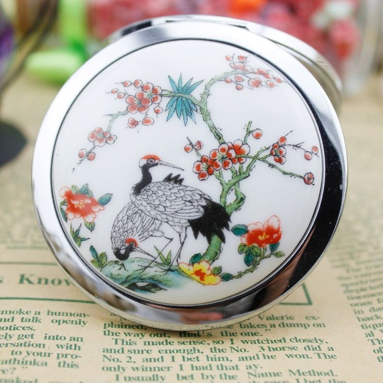 Chinese ancient paint art portable pocket mirror two-sides foldable make up mirror crystal cosmetic make Up mirror