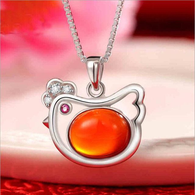 New Arrival Temperament Cute Animal 925 Sterling Silver Jewelry Beautiful Transfer Red Chicken Female Necklace    H258