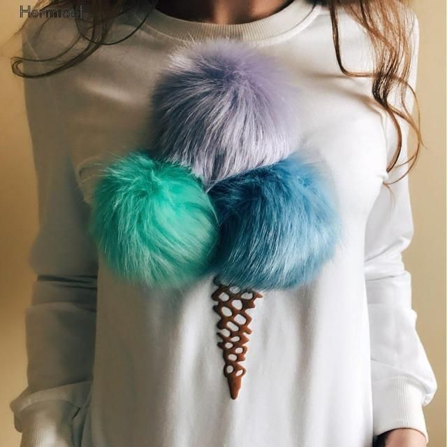 Women Long Winter White Sweatshirts 2016 Harajuku K-pop Plush Hair Fuzzy Ball Pullover Hoodies Sudaderas Mujer 3d Print