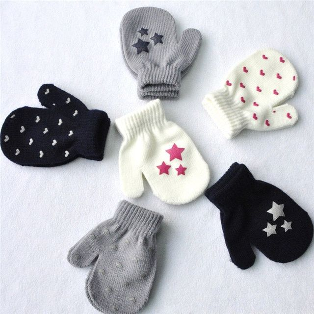 Kids Gloves For Girls boys Toddler Soft Knitting Warm Gloves 2017 Hot Wholesale Dots Star Heart Pattern Mittens 1072