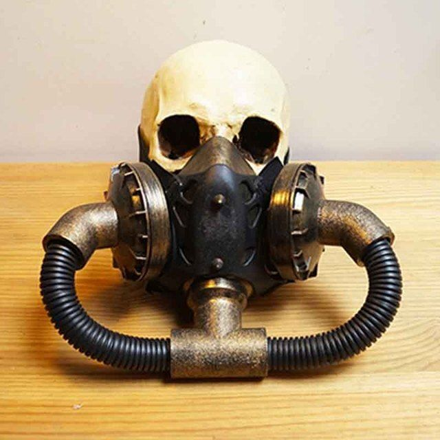 Corzzet Gold Rubber Black Pipeline Steampunk Masks Cospaly Props Anti-Fog Haze Women And Men Gothic Mask
