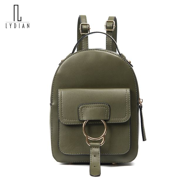 Ring Metal Hasp Backpack Bag 2017 New Europe Women Rusksack British Style Balck Student Bag Retro Lady Bags Travel Shoulder Bags