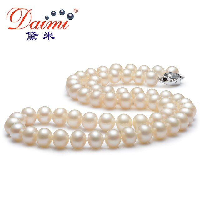 [DAIMI] White Pearl Necklace Free Earrings 100% Natural Freshwater Pearl  Hot Sale Jewelry Necklace For Women ENJOY