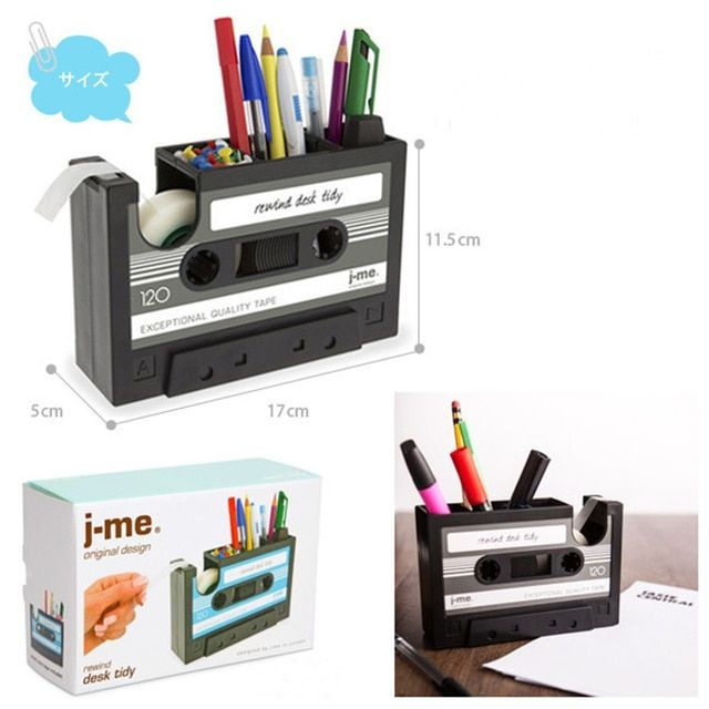 Vintage Cassette Adhesive Tape Holder  Pen Holder Vase Pencil Pot Stationery Desk Tidy Container Office Stationery Supplier Gift