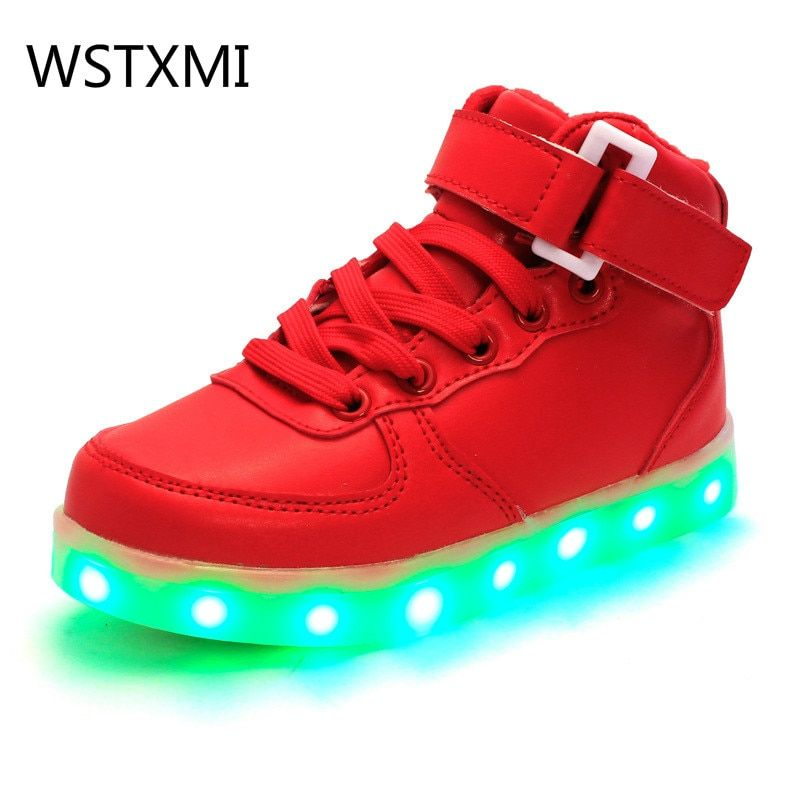 New Kids Cool USB Charging LED Light Sports Shoes PU Leather Casual Boy&Girl School Luminous Antiskid Bottom Children Sneakers