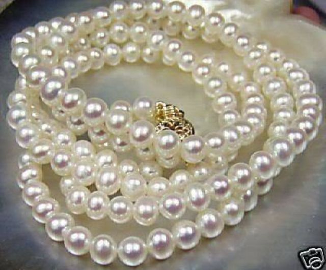 10X10  jewerly free shipping   Beautiful!7-8mm White Akoya Cultured Pearl Necklace 25""