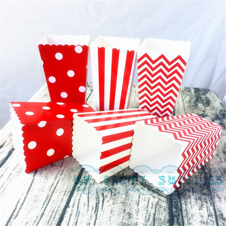 120pcs/lot Baby Shower Party Favor Paper Popcorn Boxes Red Chevron Dot StripeGift Box/Candy Box/Popcorn Boxes Bags Party Favor