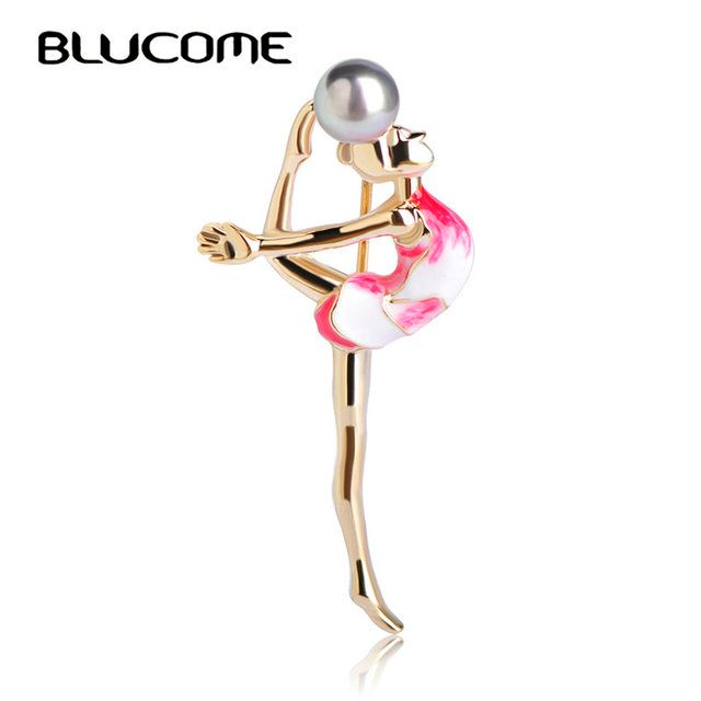 Blucome Fashion Sports Gymnastics Girls Brooch Clothes Accessories Gold-color Metal Enamel Simulated Pearls Brooches Jewelry Pin