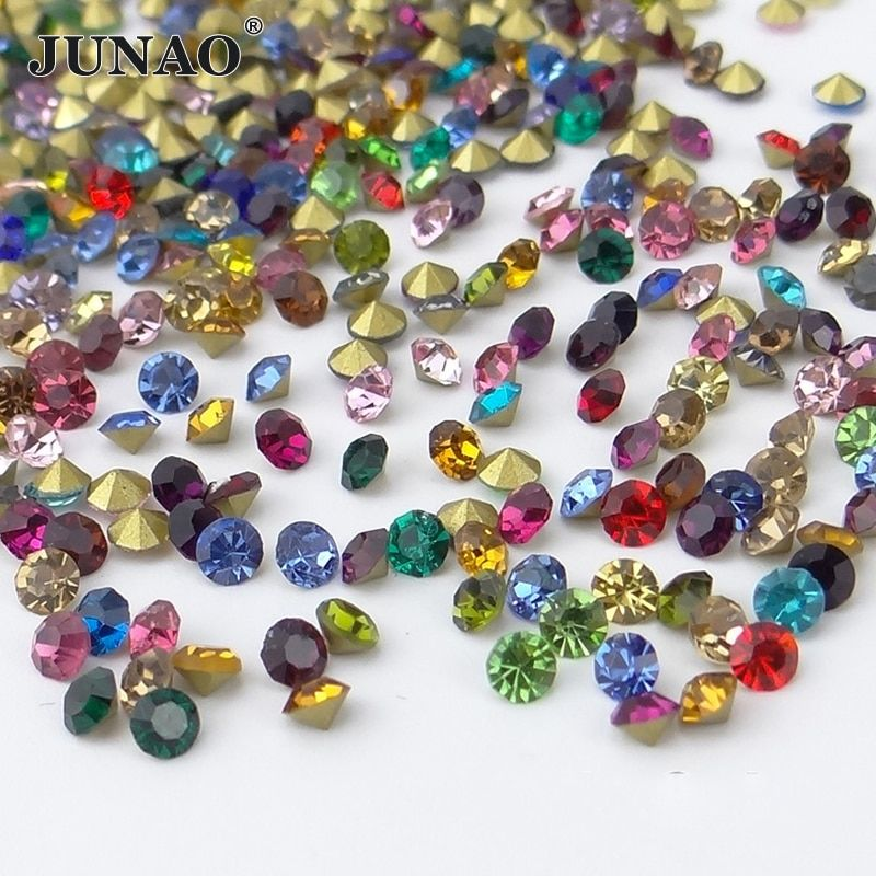 JUNAO SS6 10 16 30 Mix Color Crystals Pointback Glass Rhinestones Round Nail Art Crystal Stones Glass Strass for DIY Jewelry