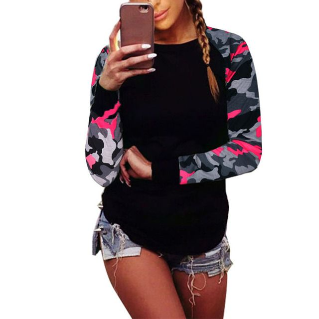 Womens Casual Camouflage T-shirt Frauen Long Sleeve Asymmetric O-neck Spring Auitumn Tops