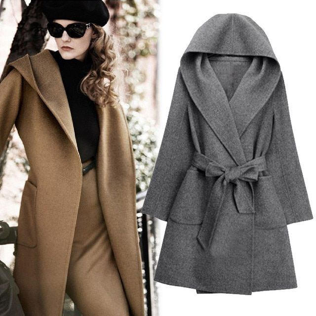 Autumn and winter Korean version of the hooded woolen coat women in the long paragraph Slim was thin camel lace coat woolen tide