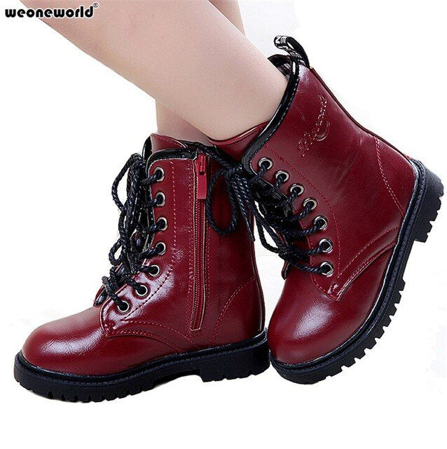 WEONEWORLD Fashion Children Autumn Winter Boots Boys Girls Child Snow Boots Kids Shoes Wear Warm Wear-resistant PU Leather Shoes