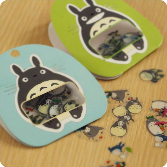 60pcs/bag Cute My Neighbor Totoro Decorative Pvc Sticker Set Diary Album Label DIY Scrapbooking  Stickers Free Shipping