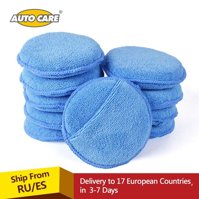 "Microfiber Wax Applicator Pad 10pcs 5"" Diameter Ultra soft Microfiber with Finger Pocket Polish Car Wax Apply Remover Buff Pads"
