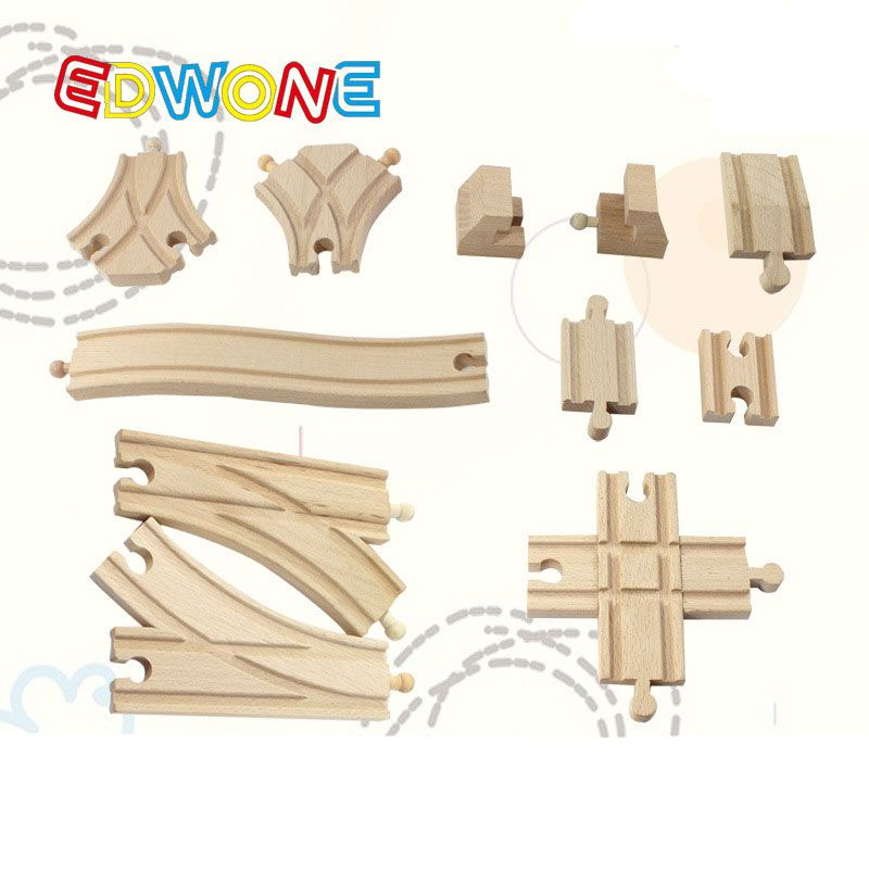 EDWONE Wooden Slot Parts In Bulk Different Shape Railway For Trains Kids Educational Diecast Toys For Children Wood Orbit Gifts