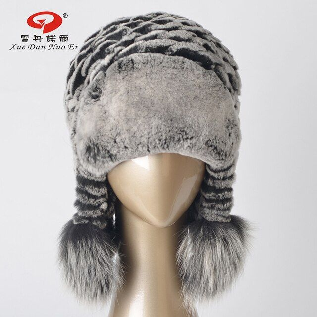 2017 New arrival hat real rex rabbit fur women`s hat genuine leather natural fur cap with ears real fox fur pom hot sale