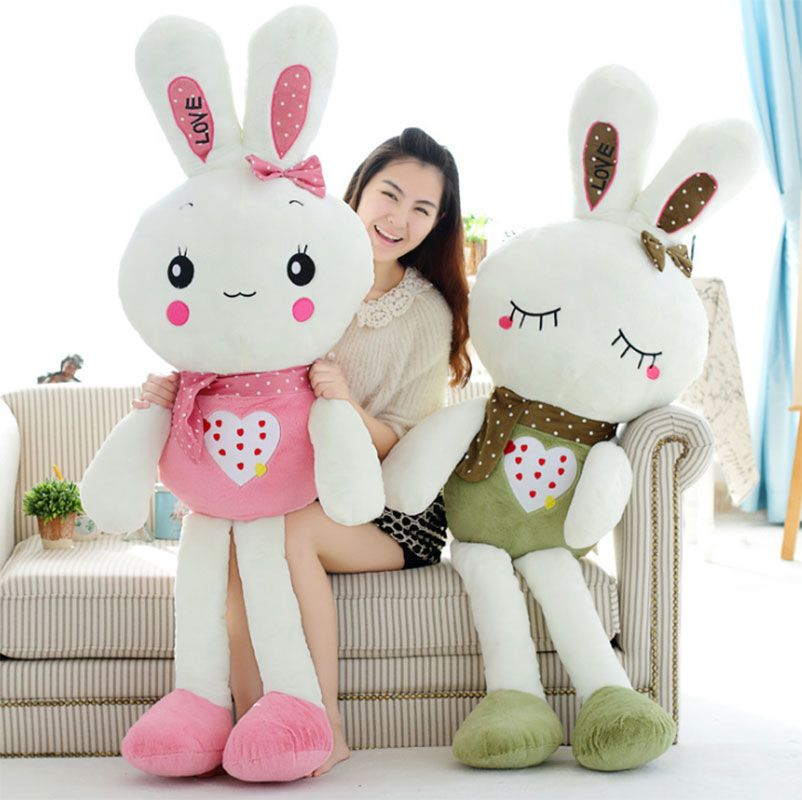 2017 Cute 80CM Easter Rabbit Baby Soft Plush Toys Brinquedos Plush Rabbit Stuffed Toys White Best Gift for Kids HT3644
