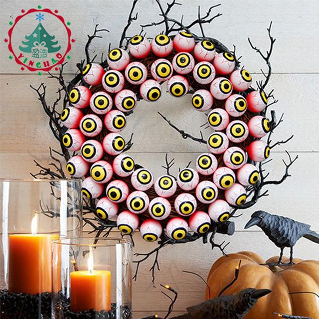 inhoo Donnie darko Scary Halloween Holiday supplies Happy Halloween Party Decoration Halloween Ornament Red blood colour eyeball