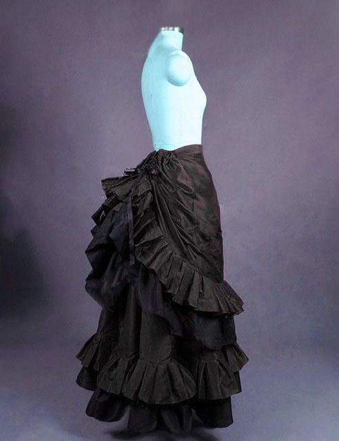 Black Satin Long Victorian Bustle Skirt Long Steampunk Skirts