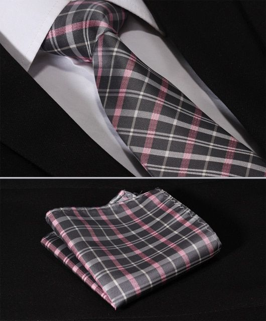 "TC3012K8 Gray Pink Check  3.4"" Silk Lots  Wedding Gravata Jacquard Classic Mans Tie Necktie Pocket Square Handkerchief Set Suit"