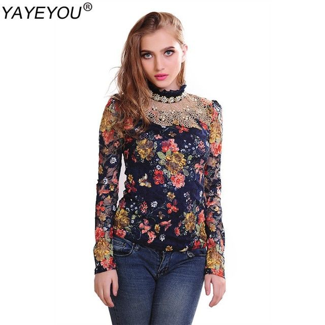 YAYEYOU XXXL Lace Blouse Spring women's plus size floral diamond lace shirts long sleeve slim patchwork tops women clothing