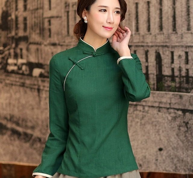 Shanghai Story Mandarin Collar Woman's Shirt chinese traditional top Long Sleeve cheongsam top traditional Chinese Linen blouse