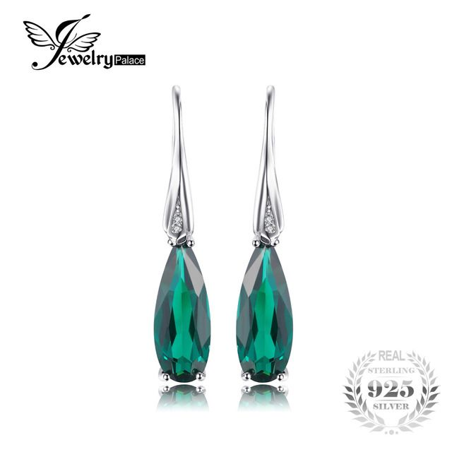 JewelryPalacr 4.8ct Emerald Drop Earrings Dangle For Women Water Drop Cut Solid 925 Sterling Silver Trendy Jewelry
