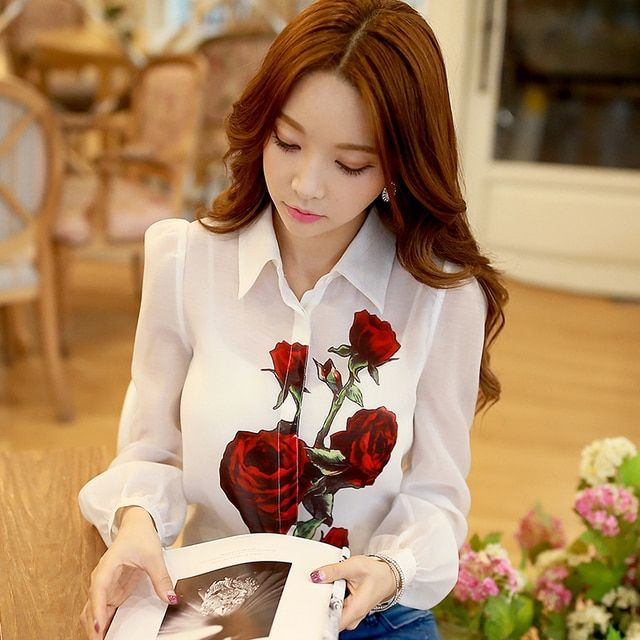 2016 Brand Spring and Autumn Blusas Plus Size Casual Fashion Long sleeve White Rose Printed Chiffon Shirt Wholesale