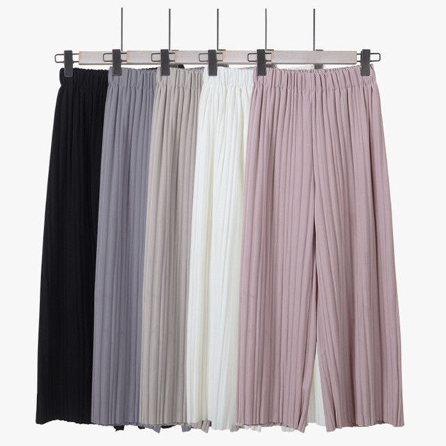 Women's Pants Summer New Fashion Wild Loose Pleated Chiffon Wide Leg Pants