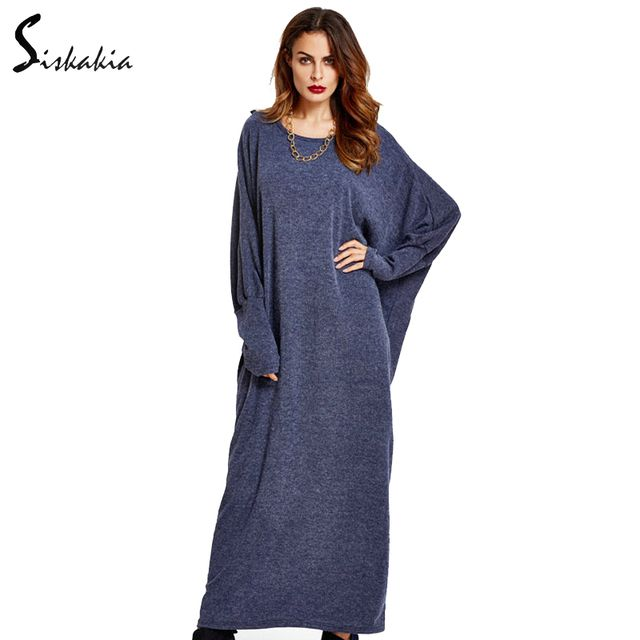 Siskakia Dresses of the big sizes Women Autumn winter warm knitted gowns Muslim Islam Middle east abaya ladies maxi long dress
