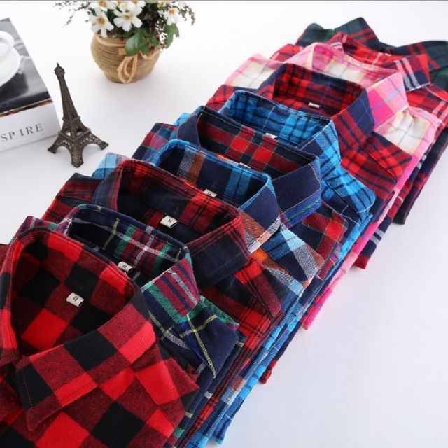 S-5XL Large Size Spring Autumn Blouse Casual Big Size Shirt Cotton Top Lapel Plaid Shirt Outwear Plus Size Women Clothing Blusas