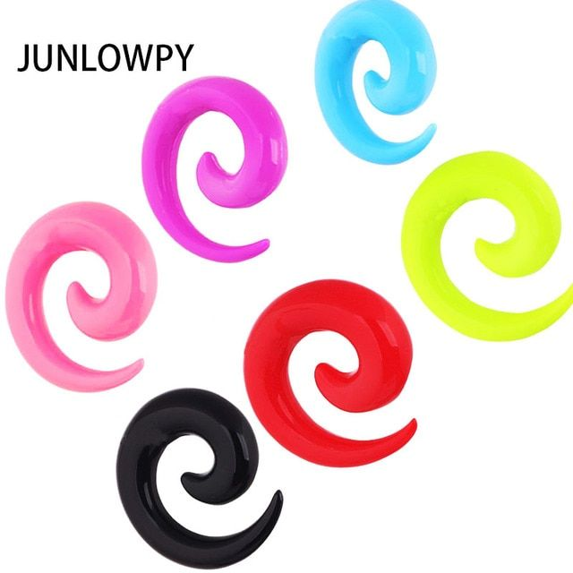 Hot 1 Pair Body Jewelry Acrylic Spiral Taper Tunnel Ear Stretcher Plugs Expanders Pircing Jewelry Black Drop Ship ear plugs