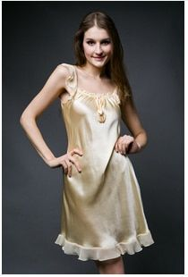 Top grade women 100% Silk pajama nightgown female mulberry silk sleepwear lounge laciness spaghetti strap nightgown