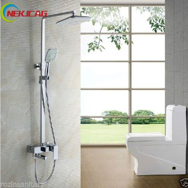 "Chrome Swivel Tub Spout Bath Shower Faucet Set 8"" Rainfall Shower Mixer Taps with Handheld Shower Wall Mounted Square Style"