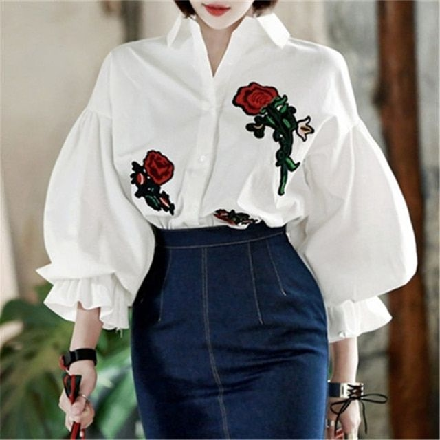 Vintage Lantern Sleeve Blouse 2018 New Arrival Women Rose Embroidery Single Breasted Buttons Loose Puff Tops Cotton White Shirt