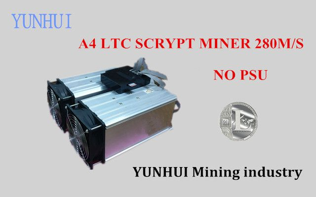YUNHUI  LTC miner used A4 280M (NO PSU) Scrypt Miner A4 Dominator LTC Miner for Scrypt Mining Substitution of A2