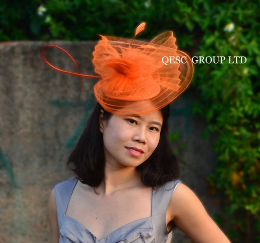 NEW 9 colours Orange Sinamay Hat Fascinator crin fascinator with feathers and long ostrich spine.FREE SHIPPING.