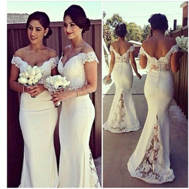 Sexy Sweetheart Lace Cap Sleeves Sexy Bridesmaid Dresses 2017 See Through Custom Made Mermaid Vestido De Festa De Casamento c17