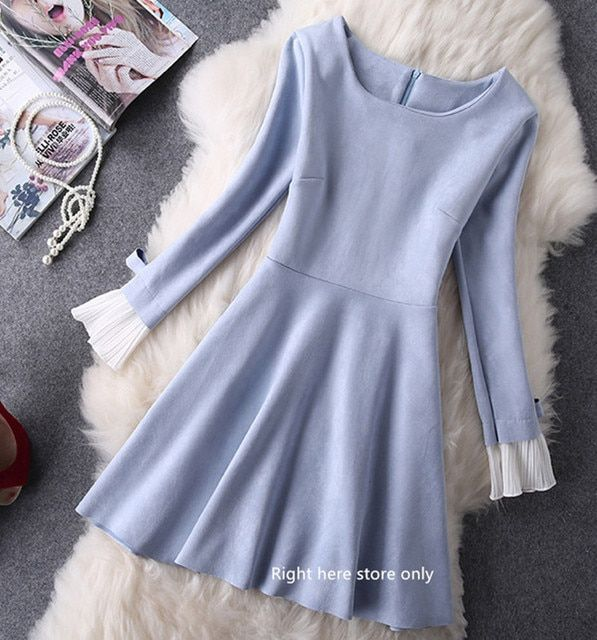 2016 Autumn Winter New Cute Suede Candy Color A-line Elegant Casual Office work Prom Party Dress vestidos Plus size