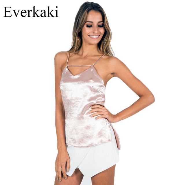 Everkaki 2017 Silk Tops Backless Cross Bandage Vest Sling Soie Gilet Sling Vest Women Sleeveless Tops Melville Bralette Regata