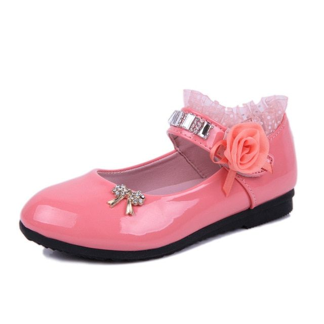 Children Elegant Princess Sandals Kids Girls Wedding PU Leather Shoes High Heels Dress Party Beaded Shoes For Girls 4colors