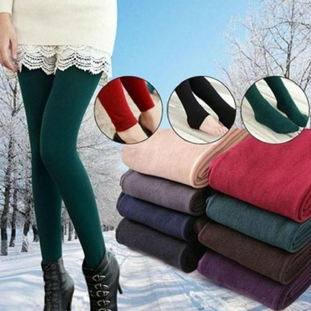 1 Pair Fashion Brushed Stretch Fleece Lined Footed Thick Sexy Pantyhose Ninth Foot Pants Warm Leggings 9 Colors For Women