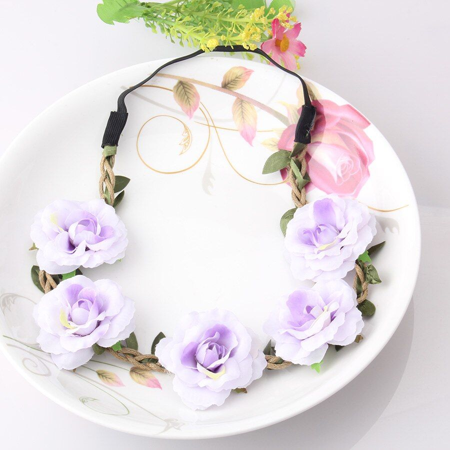 M MISM Stylish Peony Flower Garland Floral Bridal Headband Elastic Hairband Wedding Prom Hair Bands Hair Accessories For Girls