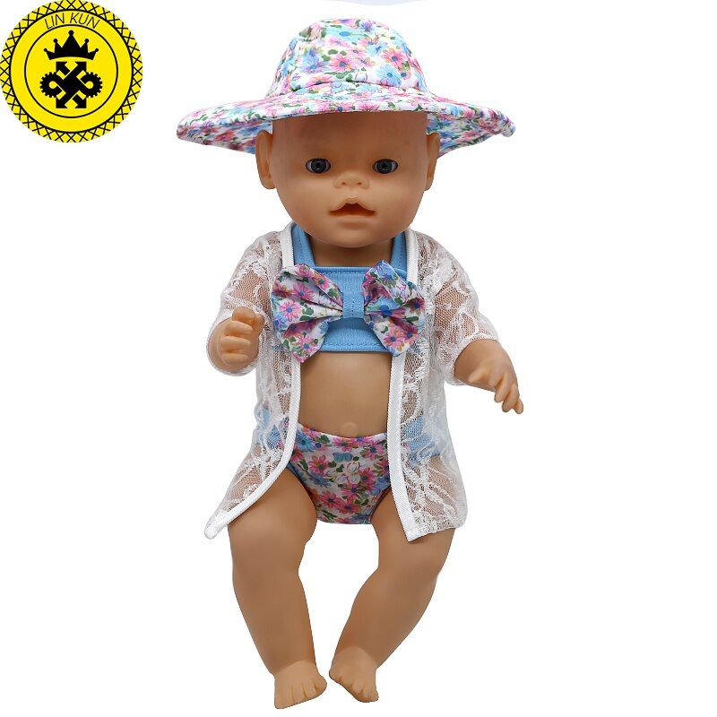 Baby Doll Clothes Cute Swimsuit Bikini Suit + Jacket Sunhat Suit Fit 43cm  Baby 16-18 inch Doll Accessories  T6