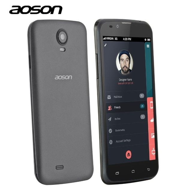 Wholesale Aoson G506 5 inch Mobile Phone MTK6572 Dual Cameras 5MP IPS Screen 2G&3G Phone Call Android Phone Add Free Accessories