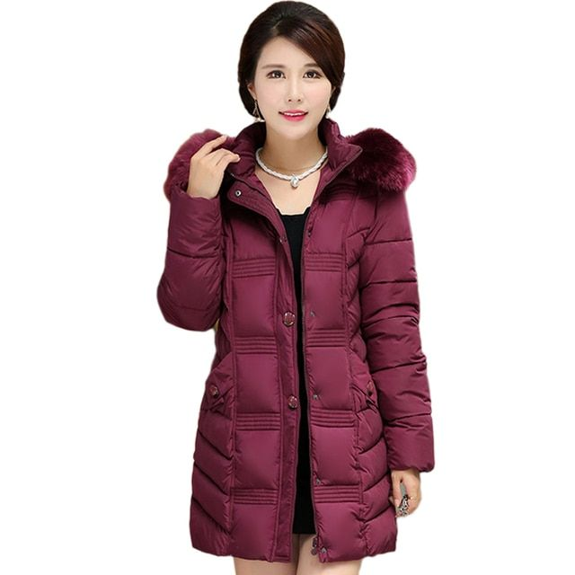 2016 New Thicken Warm Cotton-padded Winter Jacket For Middle-aged Women Fur Collar Slim Female Winter Coat Plus Size AA146