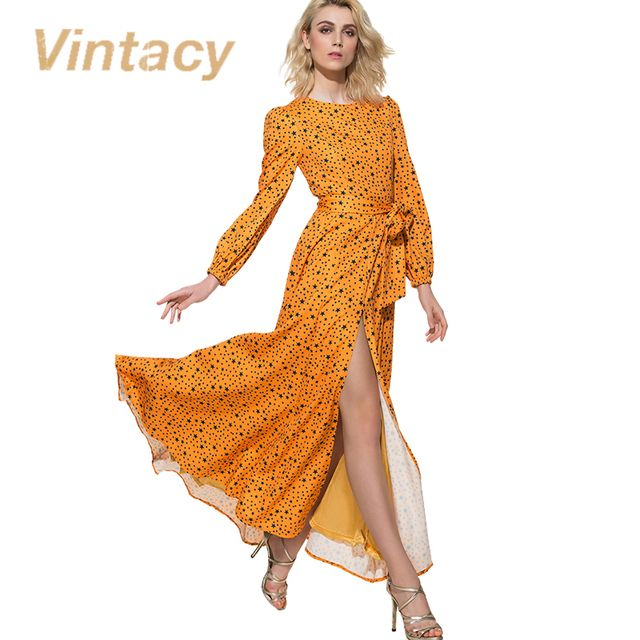 Vintacy women maxi dress long sleeve yellow women dress floral print stars party casual floor length party women long dresses