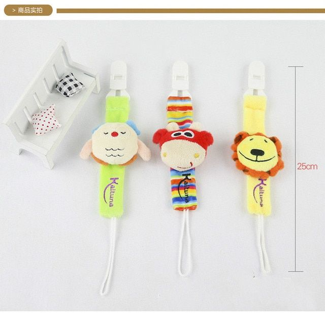 Funny animal cartoon dummy pacifier leash chains holder with plush soother holder nipple baby pacifier clips for boy&girl