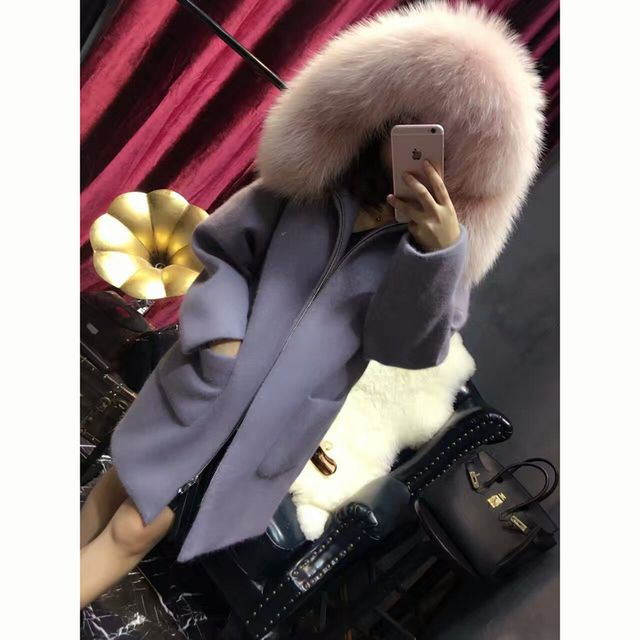 Promote Cheap Fox Wool Real Natural Fur Coats Women Genuine Racoon Dog Fur Hood Long Outwear SML Trench Overocats Autumn Fur